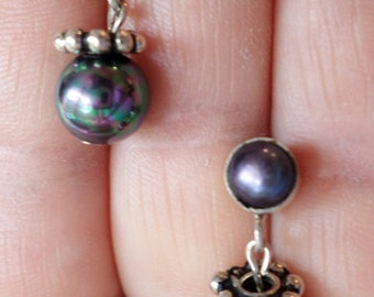Sterling Silver 925 Stamped, Magnetic Hematite Beads Dangle Earrings.