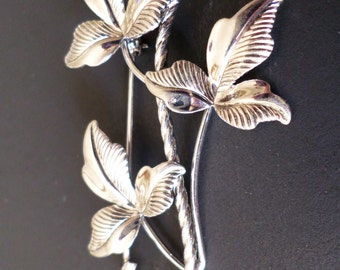 Sterling Silver Stamped, 1940's Van Dell Signed, Bunch of Leaves Brooch.