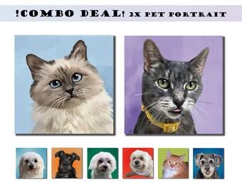 2X PET PORTRAIT Custom Pet Portrait Close-Up on Canvas  Dog Portrait Painting from Photo. Personalized Dog Pet Portrait Custom Pop Art