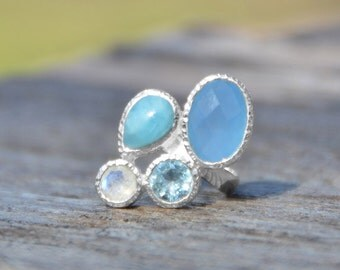Sterling Silver Chalcedony, Larimar, Topaz and Moonstone Multistone Ring