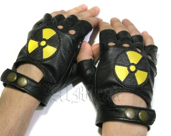 """Biker fingerless gloves made of black real leather with the sign of """"Radiation"""""""