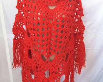 New unique handmade in Ukraine crocheted wool shawl wrap scarf poncho red