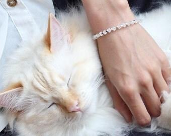 Rainbow Moonstone Bracelet, 925 Sterling Silver, Dainty Thin Bracelet, June Birthstone Jewelry, Small Wrist Bracelet,Boho Moonstone Bracelet