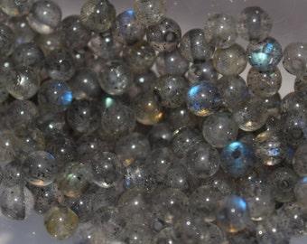Natural Labradorite Small Round Beads, Gemstone Beads, 2mm, Feldspar