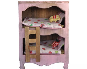 Minimolly Dollhouse Furniture Bunk Bed , Miniature bed , Bedding  PINK