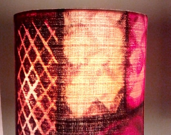 20cm drum lampshade made with vintage 1950's cotton barkcloth