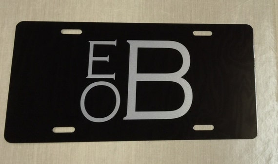 black monogrammed license plate silver by amillionmonograms