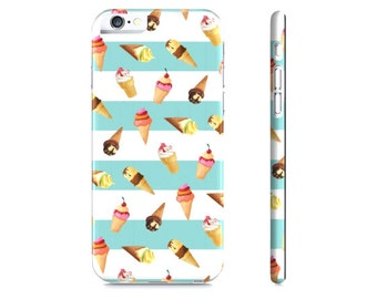 Ice Cream iPhone Case - Ice Cream and Blue Stripes Phone Case - Ice Cream iPhone 6 Case - iPhone 5 Case - Samsung Galaxy