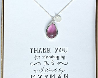 Purple Bridesmaid Necklace Silver Initial, Plum Silver Personalized Necklace, Purple Bridesmaid Jewelry Gift, Bridal Party Gifts, HP1