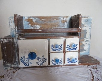 Old kitchen shelf with drawer, shelf for spices, France, wabi sabi, were cleaned, deco retro deco, vintage.
