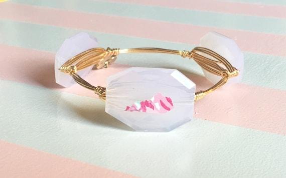 Lilly Pulitzer Inspired Bangle, Kentucky Bangle, Wire wrapped bangle, lilly pulitzer bracelet, faceted nugget bangle bracelet, 3 stone