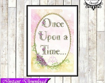 Once Upon a Time print, fairytale, girls decor, bedroom decor, fairytale picture, story print, fairytale wall art,  A4 print INSTANT DOWLOAD