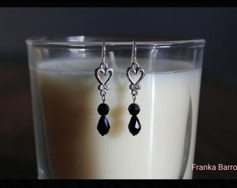 Black crystal and silver earrings