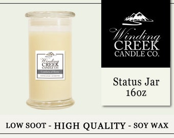 Soy Candle/Status Jar/ 16oz/Variety of Scents