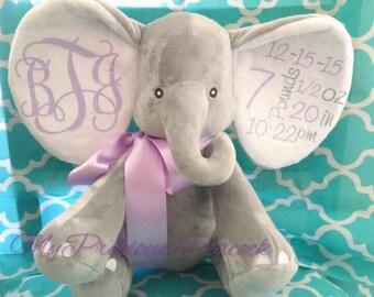 Monogrammed elephant, stuffed animal, personalized, baby gift, newborn, birth announcement, birth stat