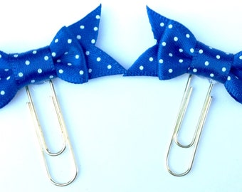 Gold Planner Paper Clips : Set of 2 Blue Polka Bow planner clips bookmarks for planner accessories planner paperclips collection
