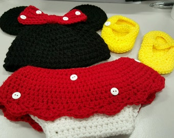 Crochet Minnie Mouse Outfit - Made to Order