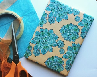 Blue Succulents Wrapping Paper
