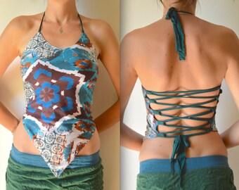 Pixie top, halter top, tribal clothing, festival, yoga top, boho, hippie clothes, backless, Burning Man clothes, psytrance, goa