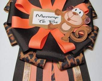 Daddy to Be Tie / Mommy to Be Shower Corsage / Jungle Theme Baby Shower Corsage / Shower Corsage