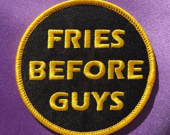 Fries before guys patch / Feminist patch / Iron-on patch / Embroidered patch / Feminist embroidery / Patch game
