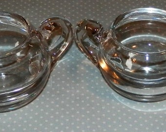 Mid Century Modern Sugar Bowl and Creamer Set Rounded Rare Heavy Glass 1950s Vintage Art Glass