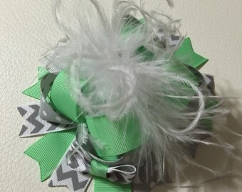 Mint and Grey Over the Top Hair Bow , Over The Top Hair  Bow , Over The Top Ostrich Feather Hair Bow , Mint and Grey Hair Bow