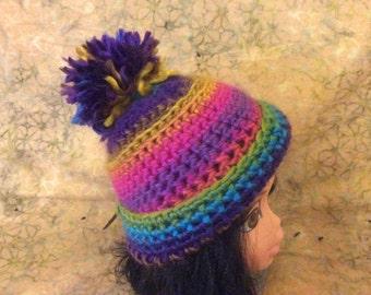 Multi colored girls hat  18 inch