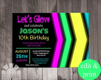 Neon Let's Glow Birthday Party Invitation- INSTANT Download and Edit with Adobe Reader - Print at Home!
