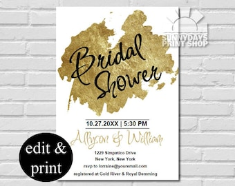 Bridal Shower for Couples- Golden Splash INSTANT DOWNLOAD Edit with Acrobat Reader and Print at Home