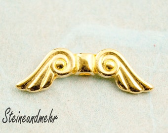 2 x wing bead gold plated 29 mm art. 2908