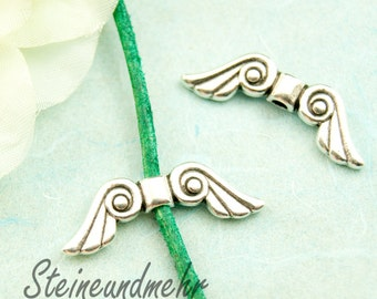 2 x wing bead silver plated 29 mm art. 2909