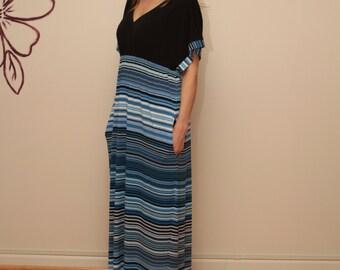 Kimono Dress / Black & Blue Striped Dress / Maxi Dress