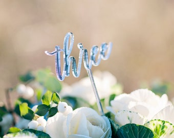 Silver Mirror Laser Cut Number Toppers - Cake Toppers - Table Numbers