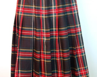 Vintage Navy, Red and Green Tartan Plaid Below the Knee Length Pleated Skirt