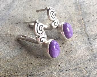 Charoite Earrings, Purple Earrings, Infinity Earrings, Vintage Earrings, Purple Stone Earrings, Solid Silver, Pure Silver, Natural Stone