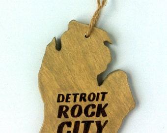 Wooden Michigan Ornament- Detroit Rock City Ornament - Michigan Ornament - Detroit Michigan Magnet