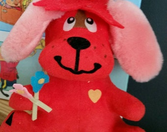 Vintage Dream Pets Rufus/Mini Stuffed Toy/Red Sueded Dog/Dream pet/Collectible Plush/Nursery Decor