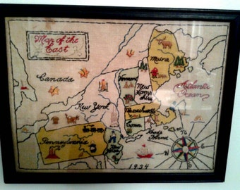 "10"" x 13"" New England Sampler, framed and dated with artist's name on back. Vintage stitching!"