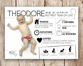 Digital Birthday Party Invitation or Birth Announcement, Customizable First Birthday Party Invitation/Birth Announcement