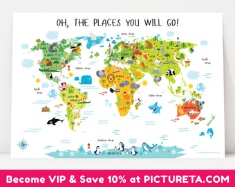 Kids World Map, Travel Nursery, Nursery Decor, Unique Baby Gift, Baby Gift, First Birthday Gift, Oh, The Places You Will Go