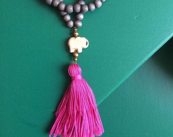 grey & magenta tassel necklace with elephant bead