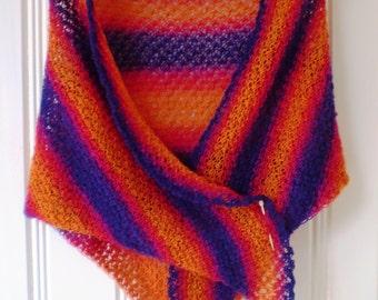 Hand Knitted Shawl - Purple & Orange