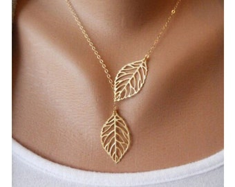 Dainty Double Leaf Lariat Minimal Necklace