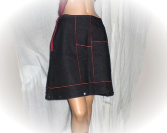DENIM SKIRT with STUDS & red stitching