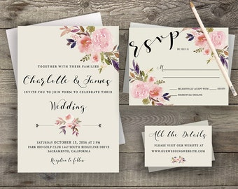 Boho Wedding Invite, Bohemian Invitation, Rustic RSVP Card, Peony Invitation, Calligraphy Invite, Hand-Painted Invite, Boho Chic Invites