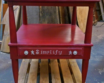 """Hand Painted & Distressed Shabby Chic Country Rustic """"Simplify"""" Vintage Wood Two Tier End, Side Table, Nightstand with Drawer."""