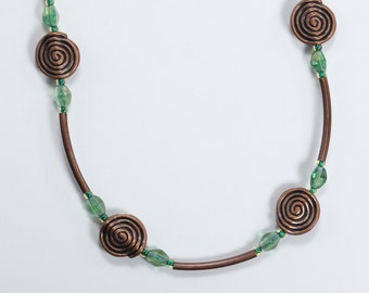 Green & Copper Necklace, Glass and Copper Necklace