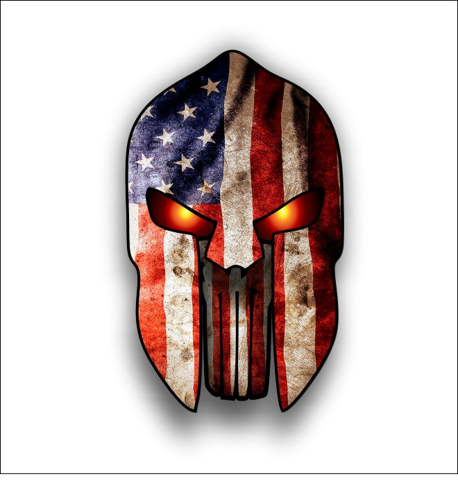 Spartan Helmet Punisher With American Flag Sticker Decal