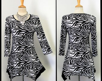 Zebra print Asymmetrical Lagenlook Regular size top tunic.Only One Available .
